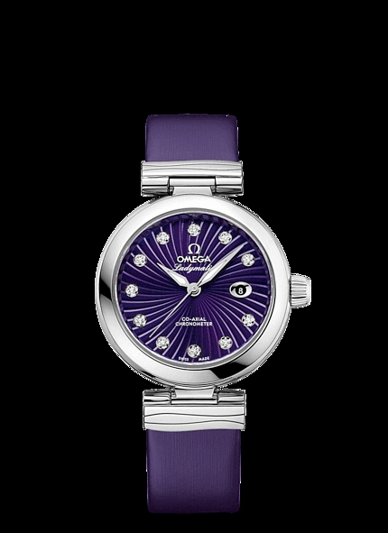 Adding the sun-brushed purple mother-of-pearl dial, this replica Omega watch completely shows the charm of ladies.