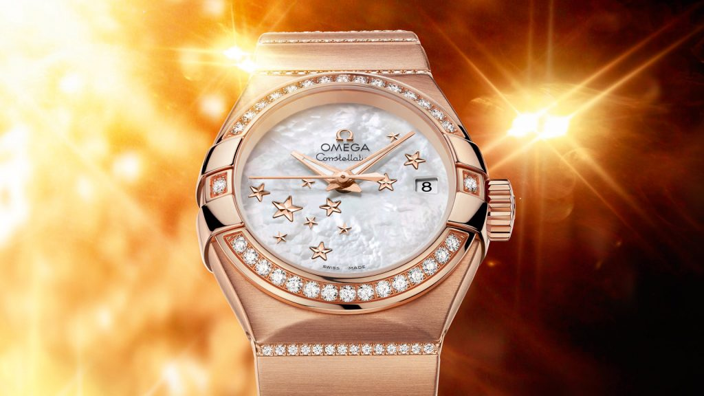 For the perfect combination of diamonds and gold, this replica Omega watch completely shows the precious and luxurious design style.