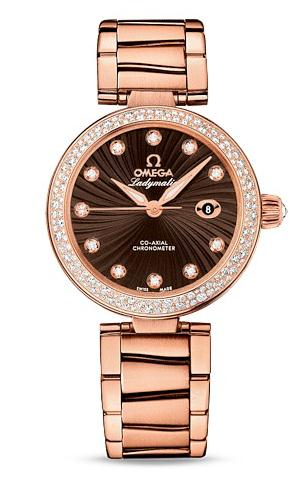 For the precious rose gold material and dazzling diamonds, this replica Omega watch directly presents a kind of luxurious timepiece.