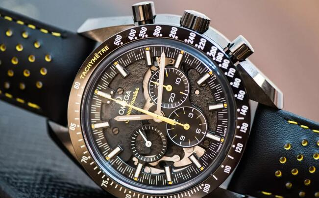 The yellow elements on the dial and strap are striking to the black toned model.