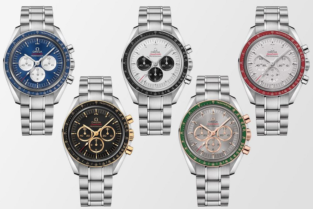 "The new Omega Speedmaster wristwatches are inspired by the ""five rings"" of Olympic Games."