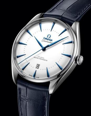 The blue hands and hour markers are striking to the white dial.