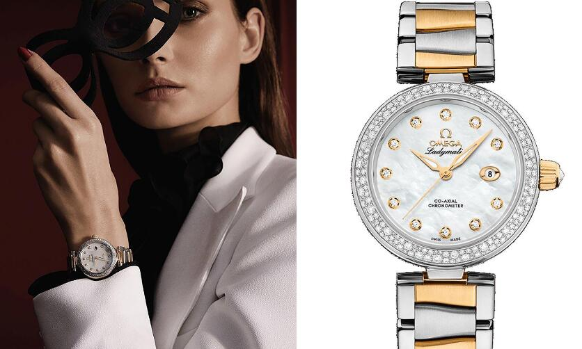 The diamonds paved on the bezel add a feminine touch to the timepiece.