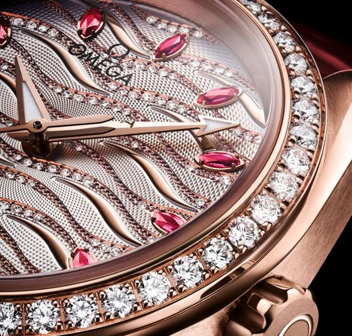 The female copy watch is decorated with diamonds.